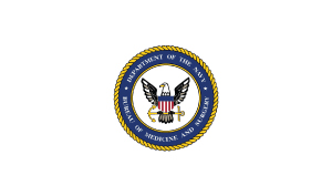 Andy & TJ Married with mics Navy Medicine Logo